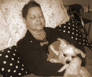 Hospice patient with pet.